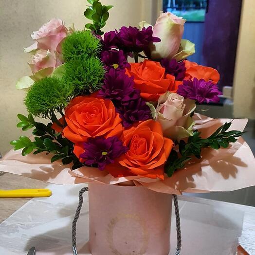 "Цветы в коробке""закат"""