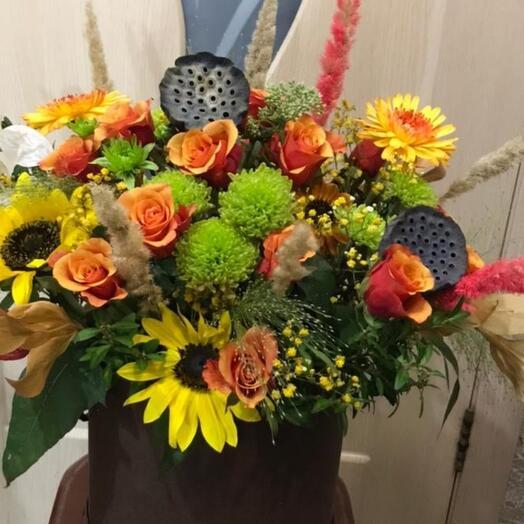 """Цветы в коробке"""" золотая осень"""""""