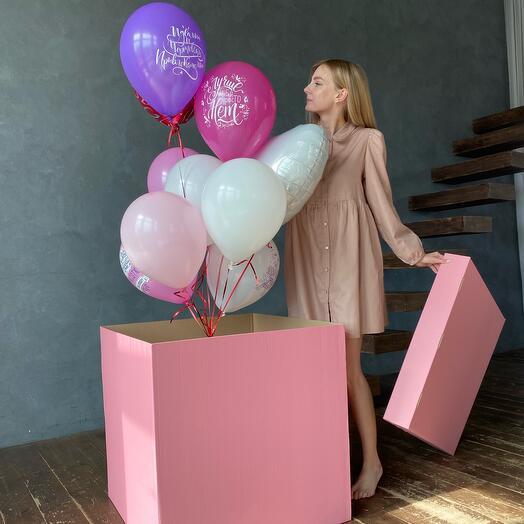 Коробка-сюрприз с шарами (Розовая)