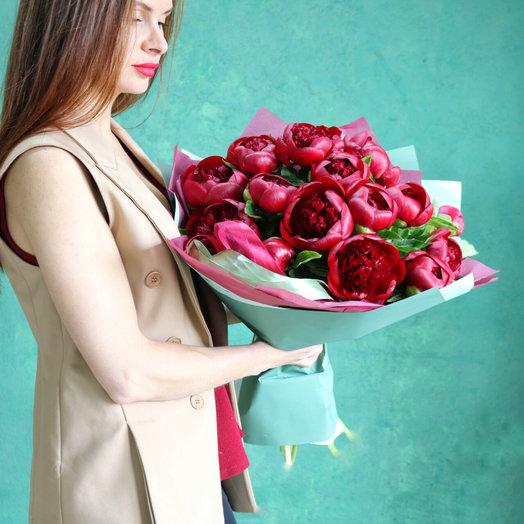 Букет Бордовых Пионов : букеты цветов на заказ Flowwow