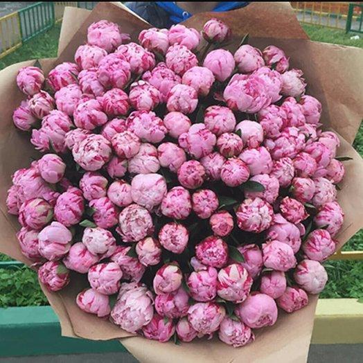 Пышный букет из 101 пиона: букеты цветов на заказ Flowwow