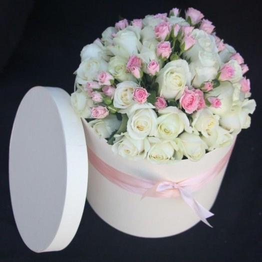 "Шляпная коробка ""Ванильное небо"": букеты цветов на заказ Flowwow"