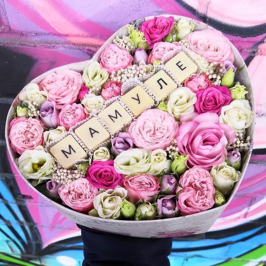 Сердце для мамули с пионовидными розами: букеты цветов на заказ Flowwow