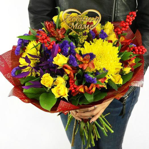 БУКЕТ МАМЕ ИЗ РОЗ, ХРИЗАНТЕМ И АЛЬСТРОМЕРИЙ: букеты цветов на заказ Flowwow