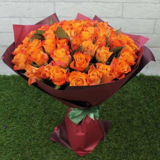 "51 огненная роза ""Down Мини"": букеты цветов на заказ Flowwow"