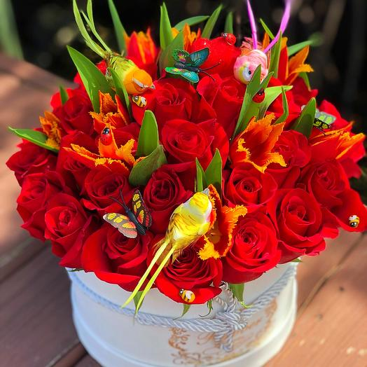 Red Paradise in the Box: flowers to order Flowwow