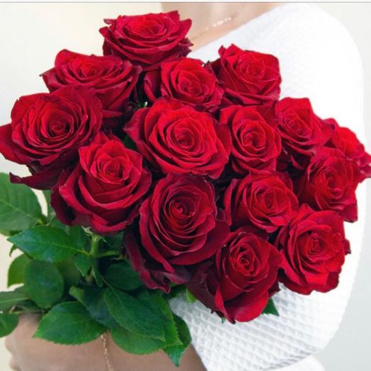 15 эквадорских роз в ленте