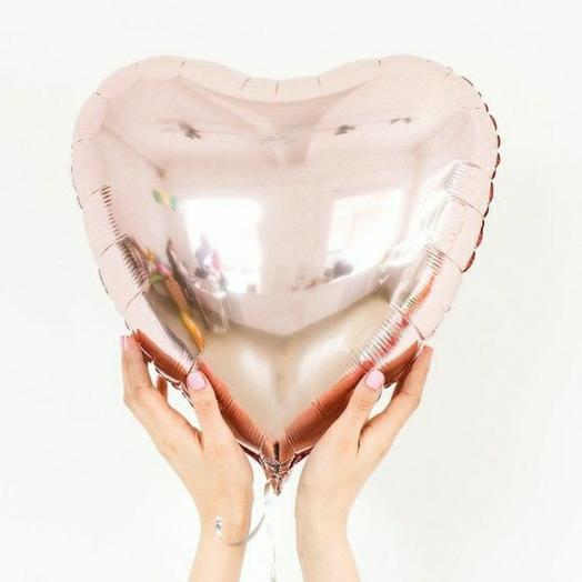 """Фольгированный шар сердце""""Розовое-золото"""""""
