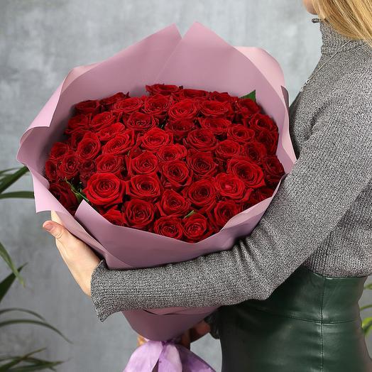 Букет из 51 красной розы Наоми (70 см)