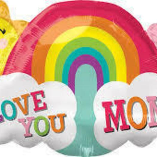 Радуга с солнышком Love you mom! 70 см