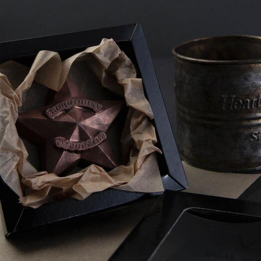 Крафтовая шоколадная медаль Valar Verde Защитнику отечества