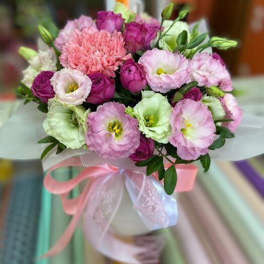 Цветы в коробке Только для тебя️️💜💜💜️