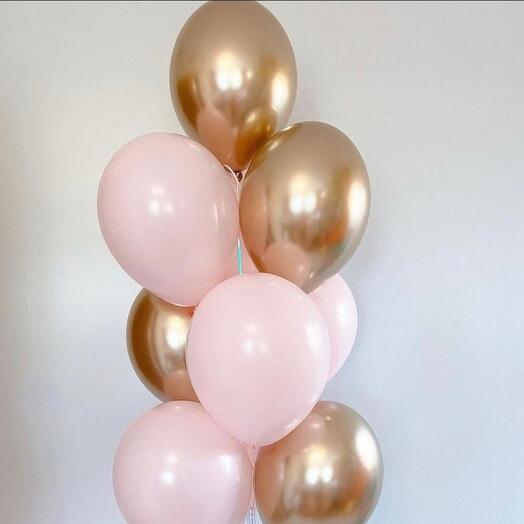 Связка шаров розовое золото