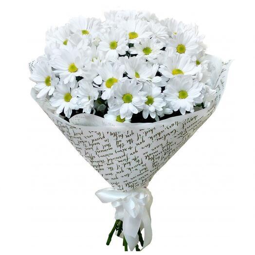 белый букет хризантем