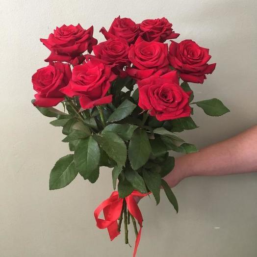 Букет из 9 красных роз 60 см: букеты цветов на заказ Flowwow