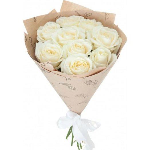 9 Белых роз премиум 60 см