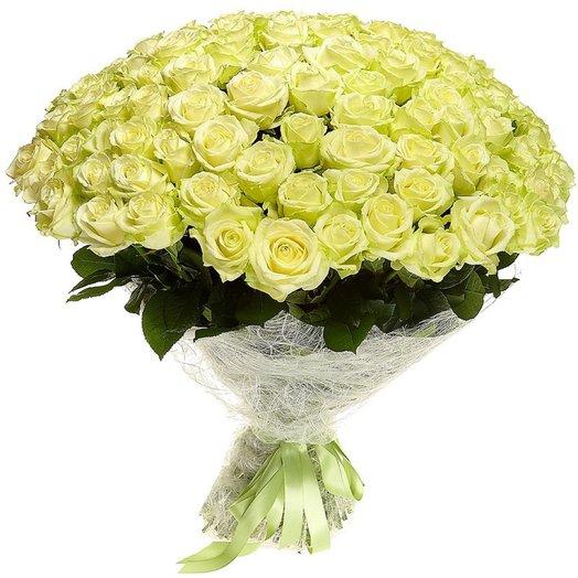 Букет из 101 розы Белые: букеты цветов на заказ Flowwow