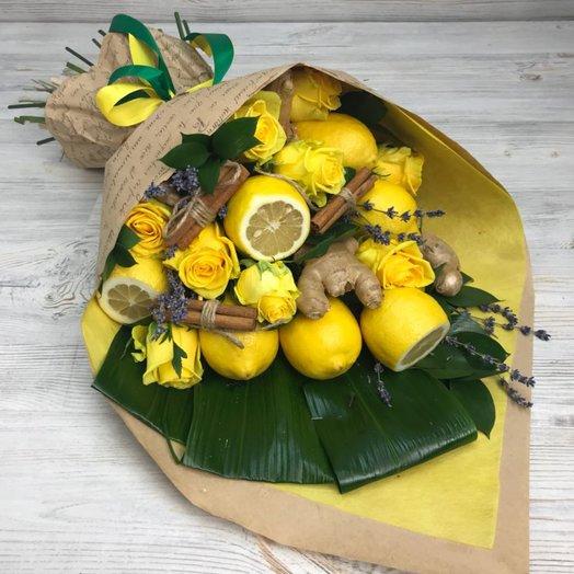 Букеты из фруктов. Лимон. Имбирь. Корица . Лаванда. N52: букеты цветов на заказ Flowwow