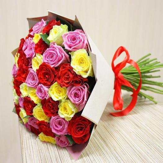 51 разноцветная роза9: букеты цветов на заказ Flowwow