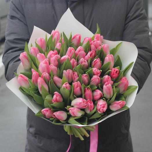 49 розовых тюльпанов: букеты цветов на заказ Flowwow