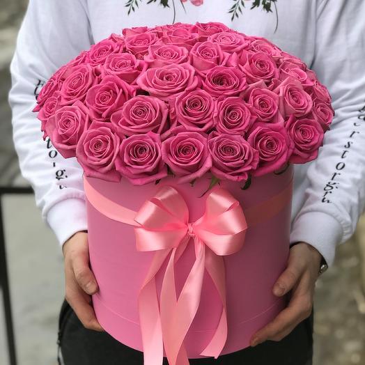 Коробка с цветами. Роза розовая. 51 роза. N373