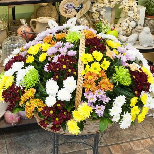 """Корзина из хризантем """"Разноцветные хризантемы"""": букеты цветов на заказ Flowwow"""