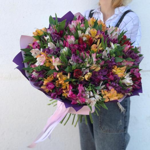 """Альстромерия """"Радужное облачко"""": букеты цветов на заказ Flowwow"""