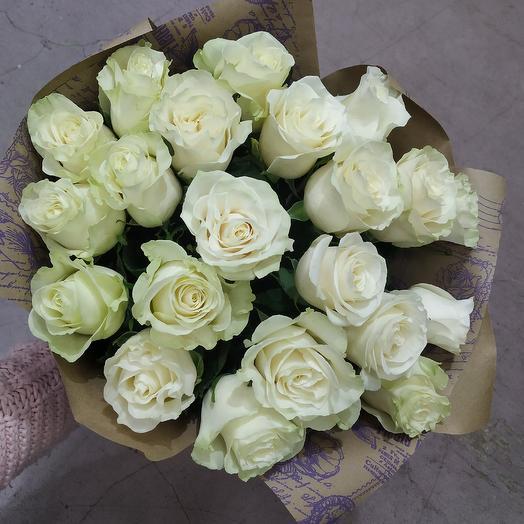 """Букет 21 белая роза """"Искренность чувств"""": букеты цветов на заказ Flowwow"""