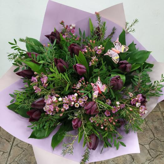 """Букет из тюльпанов """"Бархат ночи"""": букеты цветов на заказ Flowwow"""