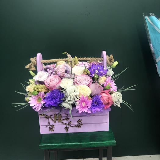 Ящик с птичками: букеты цветов на заказ Flowwow
