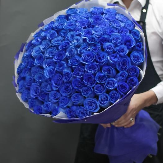 101 синяя роза: букеты цветов на заказ Flowwow