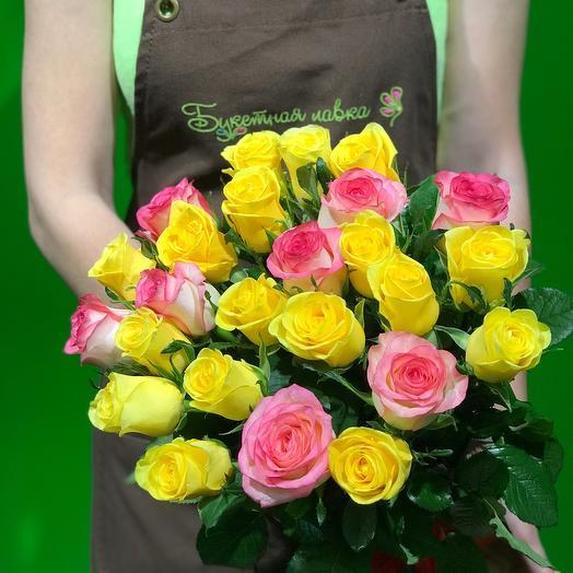 25 роз желто розовых: букеты цветов на заказ Flowwow