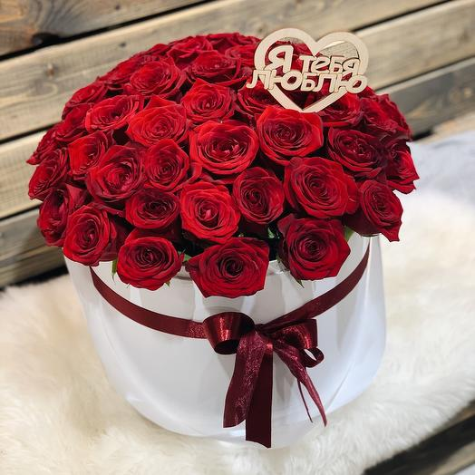 51 красная роза в коробке