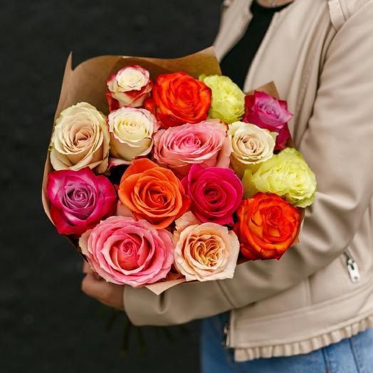 Букет из 15 роз микс Эквадор 40 см