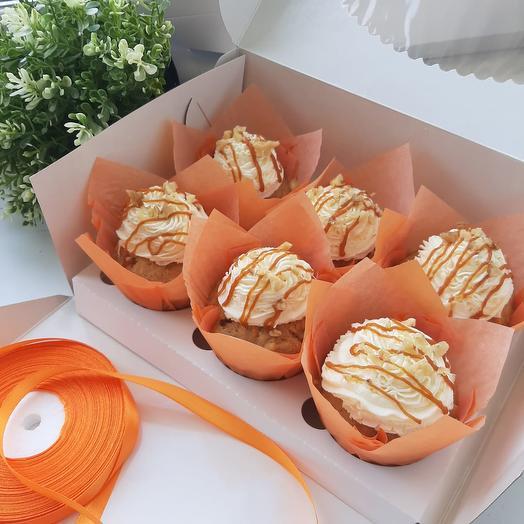 """Капкейки """"Морковные с соленой карамелью"""" 12шт"""