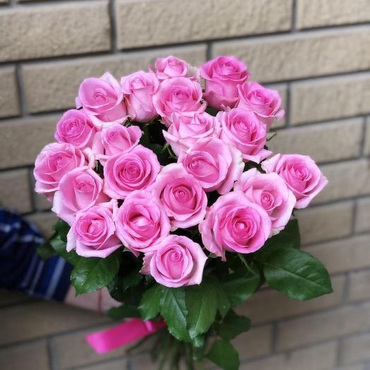 21 розовая роза под ленту