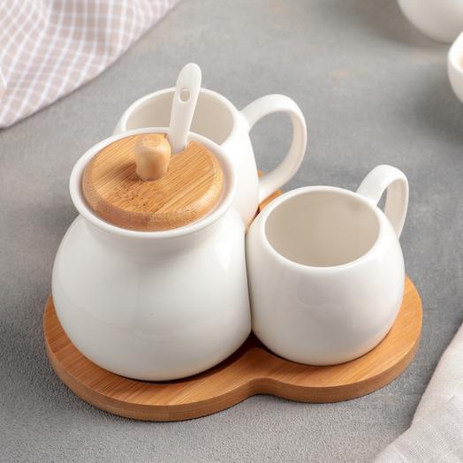 Набор кофейный «Эстет», 3 предмета: 2 чашки 90 мл, сахарница с ложкой