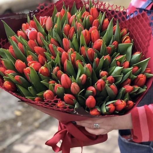 101 тюльпан в оформлении