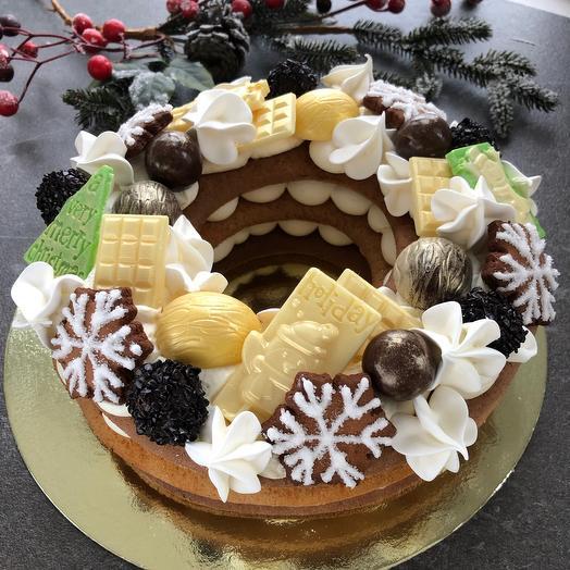 Торт венок новогодний
