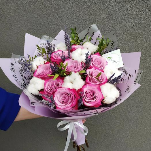 Розы с натуральным хлопком