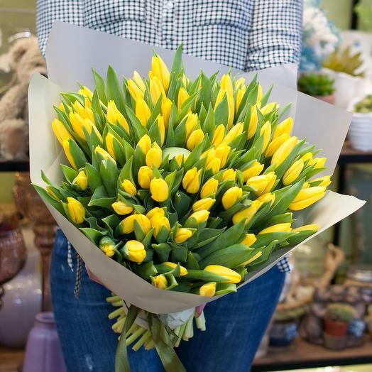 Букет из желтых тюльпанов Золотистый