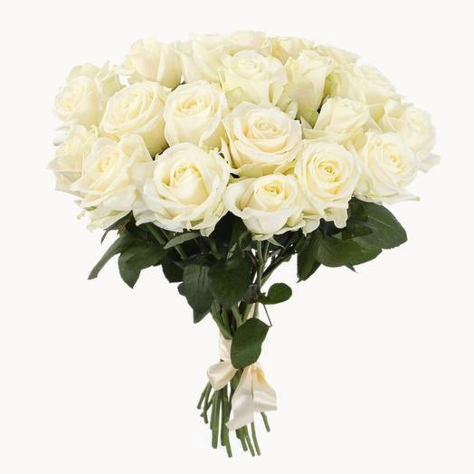 Букет из 21 белой розы (50 см)