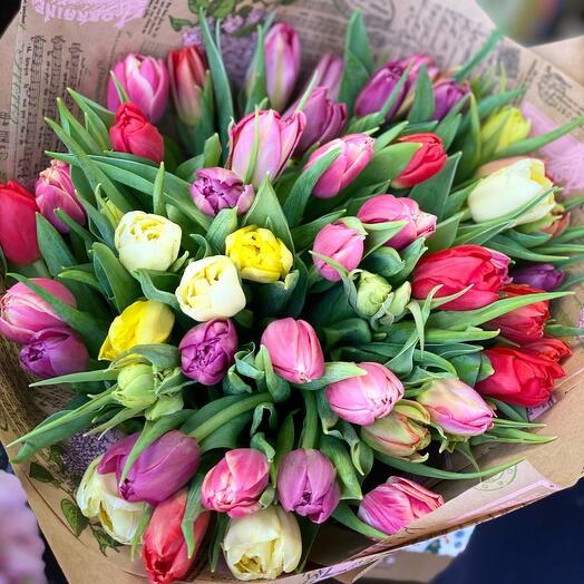 Пионовидные тюльпаны микс