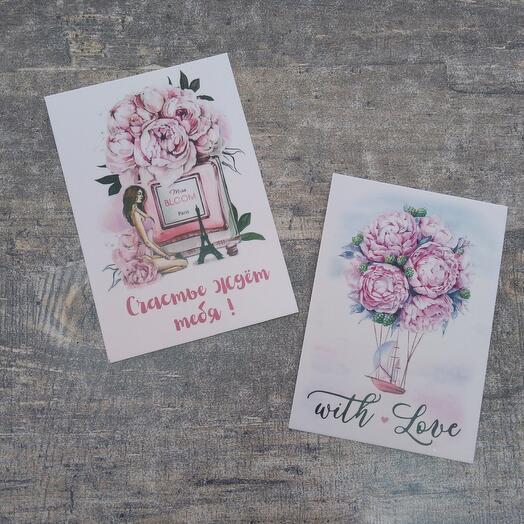 Милые открытки к букету , в ассортименте