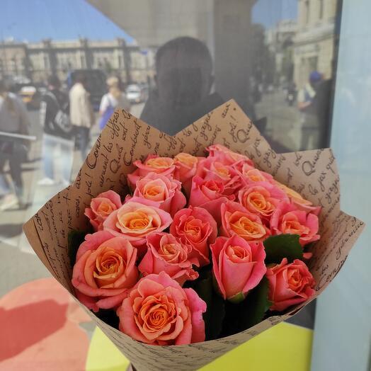 Букет из 19-ти персиковых роз мисс Пигги
