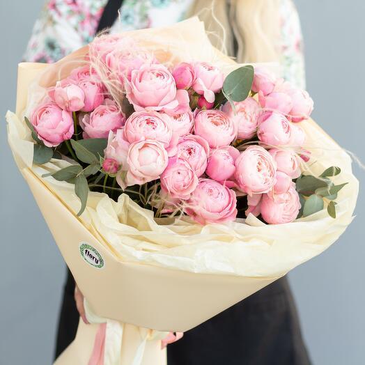 Монобукет пионовидных роз «Сильвия пинк» 245