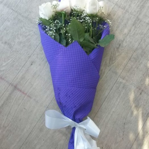 Букет 9 белых голландских роз: букеты цветов на заказ Flowwow