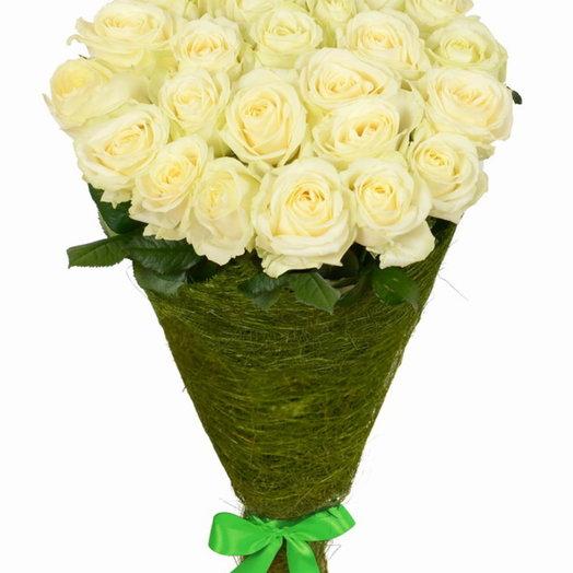 25 белых роз (70 см)
