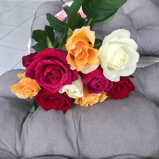 Букет из 9 разноцветных роз 60 см: букеты цветов на заказ Flowwow