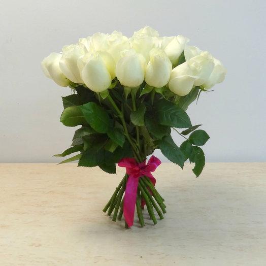 25 роз 40 см белые: букеты цветов на заказ Flowwow